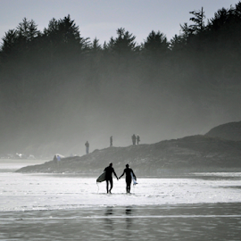 Surfers in the mist by Keith Sutherland - Landscapes Beaches ( sand, headland, beach, surf, mist )