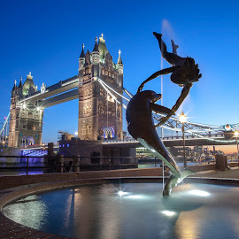 Girl with the Dolphin Statue in London by Martyn Leaning - Buildings & Architecture Statues & Monuments ( water, dolphin, tower, statue, with, sky, girl, london, night, bridge, light )