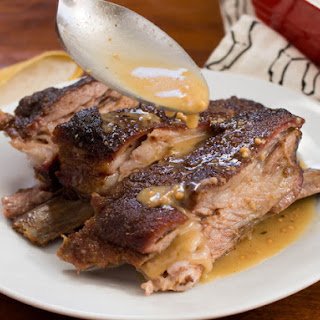 Roasted Spiced Lamb Ribs With Whole Grain Mustard Sauce