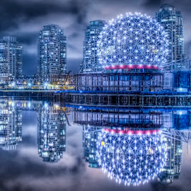 Science World Harbor by Robert Arrington - City,  Street & Park  Night ( canada, science world, vancouver, british columbia )