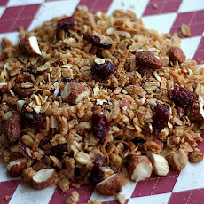 Homemade Granola with Coconut, Dried Cranberries, and Almonds