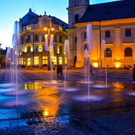 Fountain by Mihai Popa - City,  Street & Park  Street Scenes ( romania, sibiu )