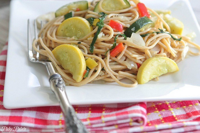 Vegetable Party Spaghetti with Warm Garlic Thyme Olive Oil Recipe ...