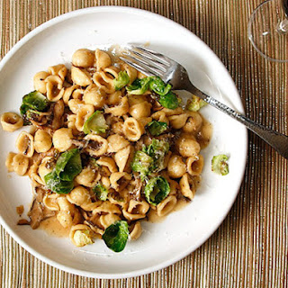 Pasta With Mushrooms, Brussels Sprouts, and Parmesan