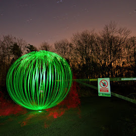 Gateway Orb - 08-03-14 by Mark Airey - Abstract Light Painting ( night photography, orb, el wire, d7000, trees, long exposure, nikon, night sky, gate )