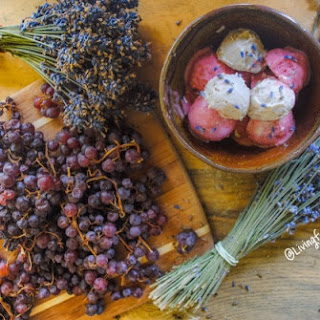 Strawberry Lavender Ice Cream with champagne grapes (Vegan)
