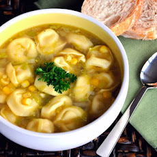 Tortellini Soup with Corn & Leeks