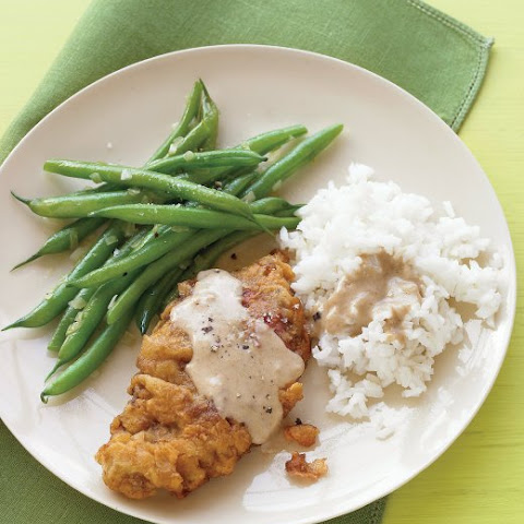 Country-Fried Steak with Green Beans and Rice