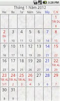 Screenshot of Android Calendar Việt
