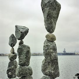 Stacked Rocks in San Diego by Matt Dittsworth - Artistic Objects Still Life ( balance, still life, grey, navy, flow, gray, yoga )