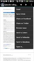 Screenshot of BrowZine