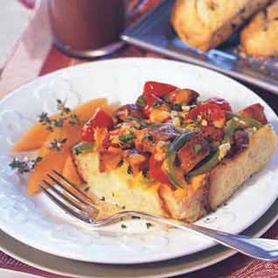 Cheddar, Vegetable and Sausage Strata