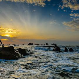 Just another Sunrise by Sanjoy Sengupta - Landscapes Sunsets & Sunrises ( nikon d700, nikon mena, nikon india, #nikon, waves, nikkor, beach, seascape, sunrise, landscape, 14-24mm, rocks,  )