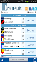 Screenshot of Dream-Stats Live AFL Scores