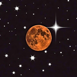 Super moon with stars. by Valerie Stein - Digital Art Things ( blue, orange. color )