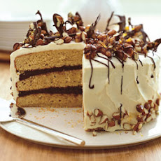 Almond Praline Cake with Mascarpone Frosting and Chocolate Bark