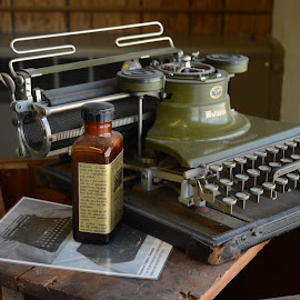 vintage office by Marjorie Martin - Novices Only Objects & Still Life ( vintage, typewriter, green, typewriter keys, office equipment, machines )