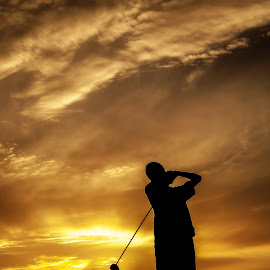 Sunset Practic by Shelley Patterson - Sports & Fitness Golf ( sunset, silhouette, golf, beach )
