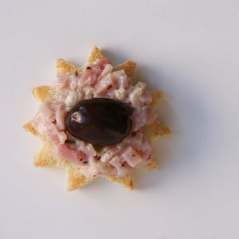 Ham Spread and Olive Canapés