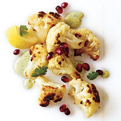 Fried Cauliflower with Tahini and Pomegranate Seeds