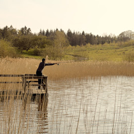 A fisherman  by Boris Krastev - Landscapes Forests ( water, nature, warmweather, fishing, man )
