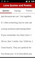 Screenshot of Love Quotes and Love Poems