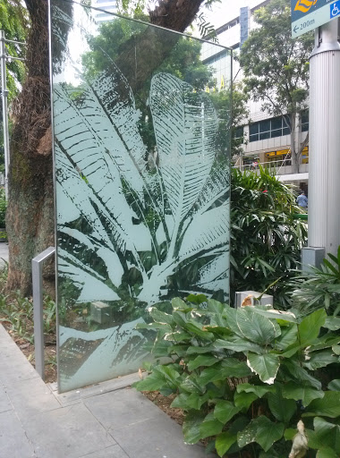 Glass Panel Of Leaves