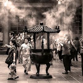 Taipei by Lee Jorgensen - City,  Street & Park  Street Scenes ( temple, black & white, taipei, street scene, worship, people, crowd, humanity, society )