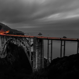 Bixby Creek Bridge by Aman Rawal - Buildings & Architecture Bridges & Suspended Structures ( bixby creek bridge, pch, black and white, california, light trails, long exposure, highway 1 )