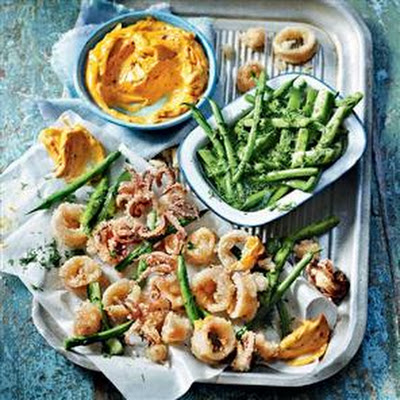 Crispy Squid With Pickled Beans And Harissa Mayonnaise