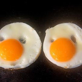 Good Morning Buddies! by Fawad Awan - Food & Drink Cooking & Baking ( expression, two, faces, cartoon, food, breakfast, white, fawad awan, cooking, yellow, nose, eyes )