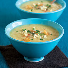 Celery Soup with Apples and Blue Cheese