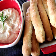 Homemade Herb Grissini with White Bean Dip