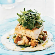 Pan-seared Halibut with Shrimp Succotash