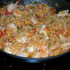 Pineapple Fried Rice With Sprimp and Ham