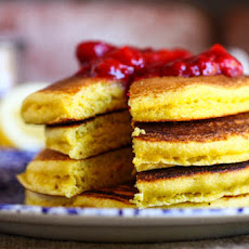 Lemon Cornmeal Pancakes with Strawberry Sauce