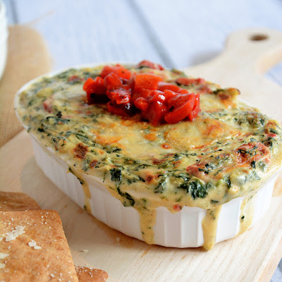 Roasted Garlic Spinach & Artichoke Dip with Garlic Pita Chips