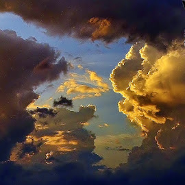 Dark and Dusky, Painted on the Sky by Tim Hall - Landscapes Cloud Formations ( clouds, thunderstorm, sunset, twilight, cloud formation, storm clouds, sunrise, evening, dusk, comimg storm )