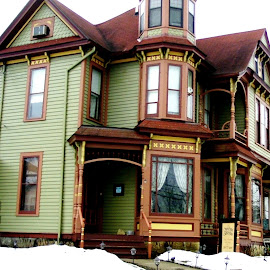 Green House, Orange Trim by Kathy Rose Willis - Buildings & Architecture Homes ( orange, galena, illinois, colorful, green, snow, victorian, brown, yellow,  )