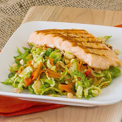 Asian Brussels Sprout Salad with Grilled Salmon