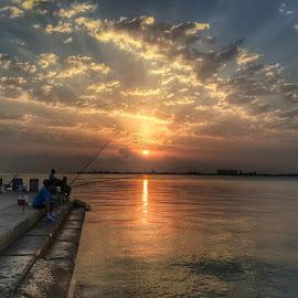 Early morning fishing...@igersdoha @dohanews @seemycity @seemydoha by Lih Ali - Landscapes Sunsets & Sunrises ( fishing, corniche, sunrise, bay, seemycity, seemydoha, seemyqatar, igersdoha, igersqatar )