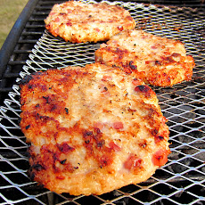 Grilled Ham & Cheese Chicken Burgers