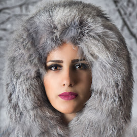 Cold time by Miroslav Potic - People Portraits of Women ( enthusiasm, fell, passionate, moods, pelt, improving mood, love, winter, red, cold, fur, miroslav potic, the mood factory, passion, coat, inspirational,  )