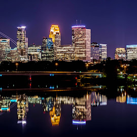 Flyaway by Doug Wallick - City,  Street & Park  Skylines ( airlane, exposure, reflection, skyline, minneapolis, bridge, long, broadway, river, mississippi )