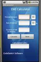 Screenshot of EMI Calculator