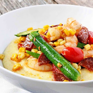 Chorizo Shrimp on Goat Cheese Polenta