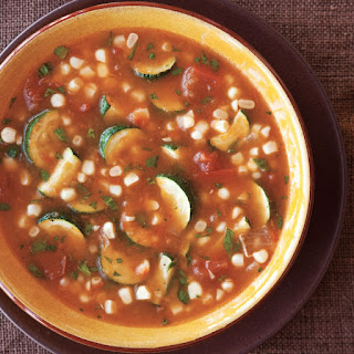 Tomato, Zucchini and Fresh Corn Soup