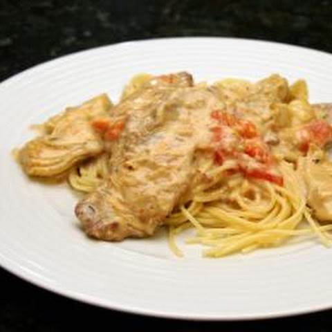 Veal With Garlic Cream Sauce and Artichokes