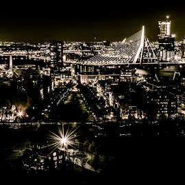 Rotterdam <3 by Youssef Lahlou - City,  Street & Park  Night ( lights, rotterdam, night, high, bridge, light, nightscape )