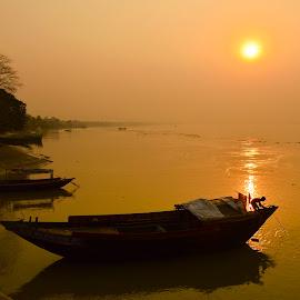 last day work by Jayanti Chowdhury - Landscapes Sunsets & Sunrises ( kolkata, sunset, ganges river, india, golden hour,  )